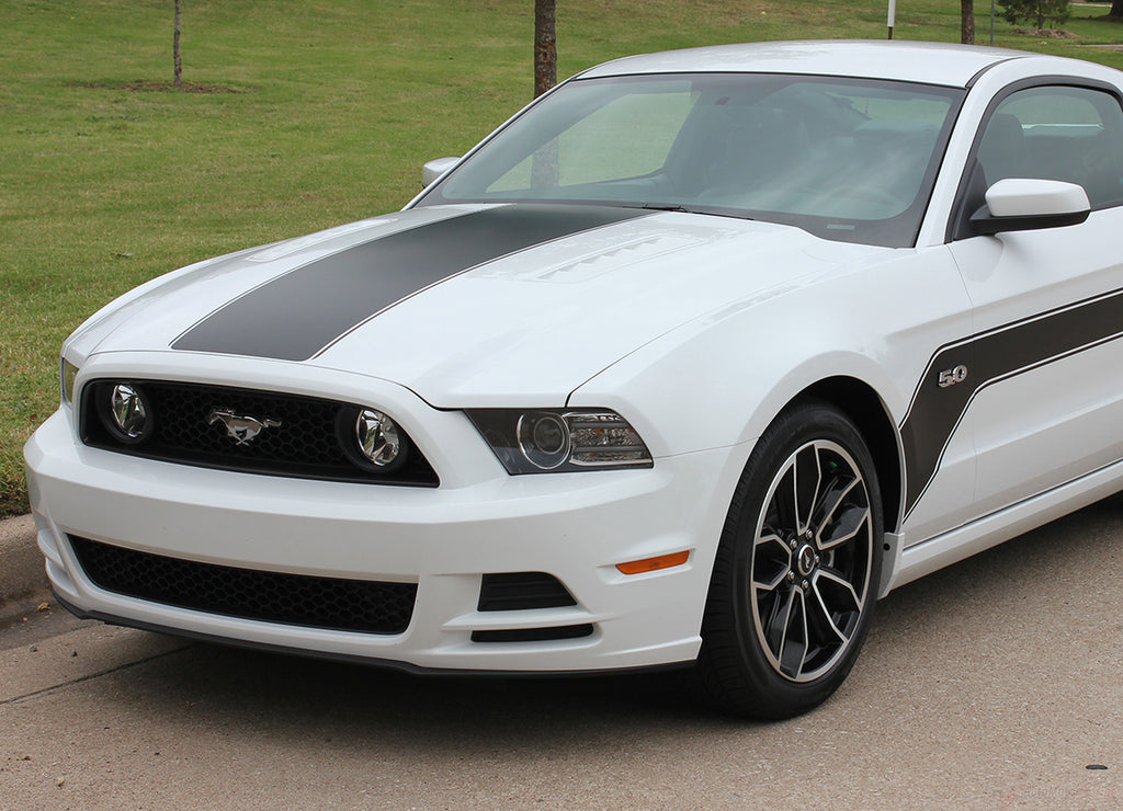 2013 2014 Ford Mustang Flight Hockey Style Vinyl Graphics 3M Decals for Sides and Hood