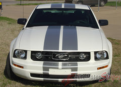 "2005 - 2009 Ford Mustang SV-6 V6 Racing and Lemans 10"" Rally Stripes Vinyl Graphics 3M Decals - Front View"