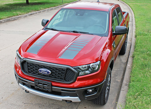 Ford Ranger Hood Decals NOMAD HOOD Split Hood Stripes Vinyl Graphics Decals Kit 2019 2020