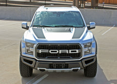 Ford Raptor Hood Decals VELOCITOR HOOD Split Hood Stripes Vinyl Graphics Decals Kit 2018 2019 2020