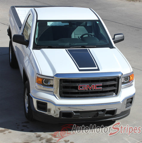 2014-2016 2017 GMC Sierra Midway Edition Style Truck Center Hood Racing Vinyl Graphics Stripes - Hood View