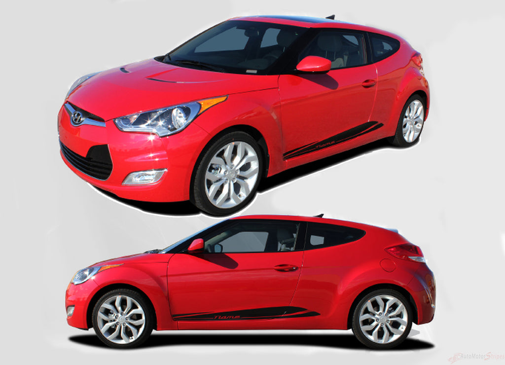 2011-2018 Hyundai Veloster Mentum Lower Rocker Panel Accent Vinyl Graphics 3M Stripes Decals