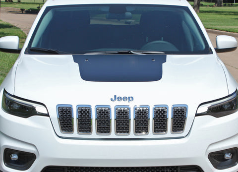 2018 2019 2020 Jeep Cherokee Trailhawk Hood Decal T-Hawk Factory OEM Style Center Blackout Vinyl Graphic Stripes