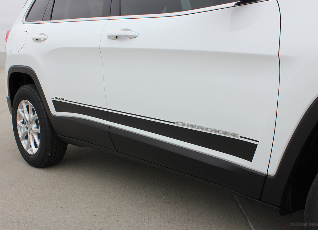 2014-2021 Jeep Cherokee Brave Lower Rocker Panel Accent Vinyl Decal Graphic 3M Stripes