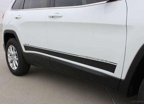 2014 - 2019 Jeep Cherokee Brave Lower Rocker Panel Accent Vinyl Decal Graphic 3M Stripes