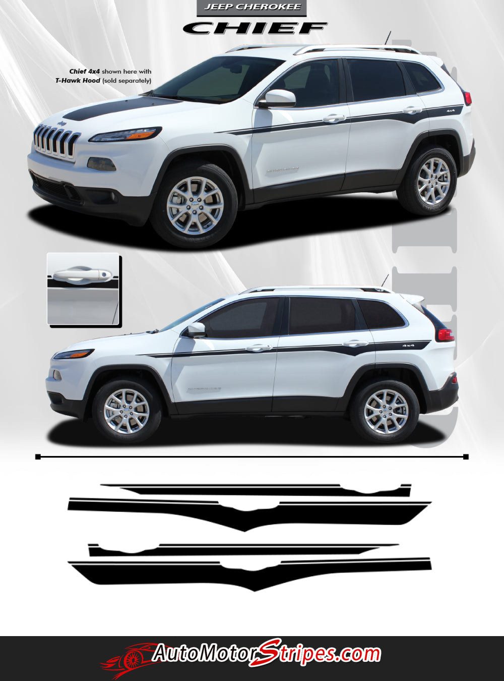 2014-2019 Jeep Cherokee Decals Chief Mid Body Line Accent ...