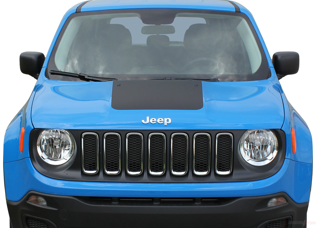 2014-2018 2019 Jeep Renegade Factory OEM Trailhawk Style Hood Center Blackout Vinyl Decal Graphic 3M Striping