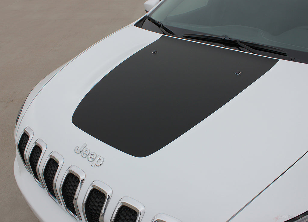 2014-2021 Jeep Cherokee T-Hawk Factory OEM Trailhawk Style Center Hood Blackout Vinyl Decal Graphic Stripes