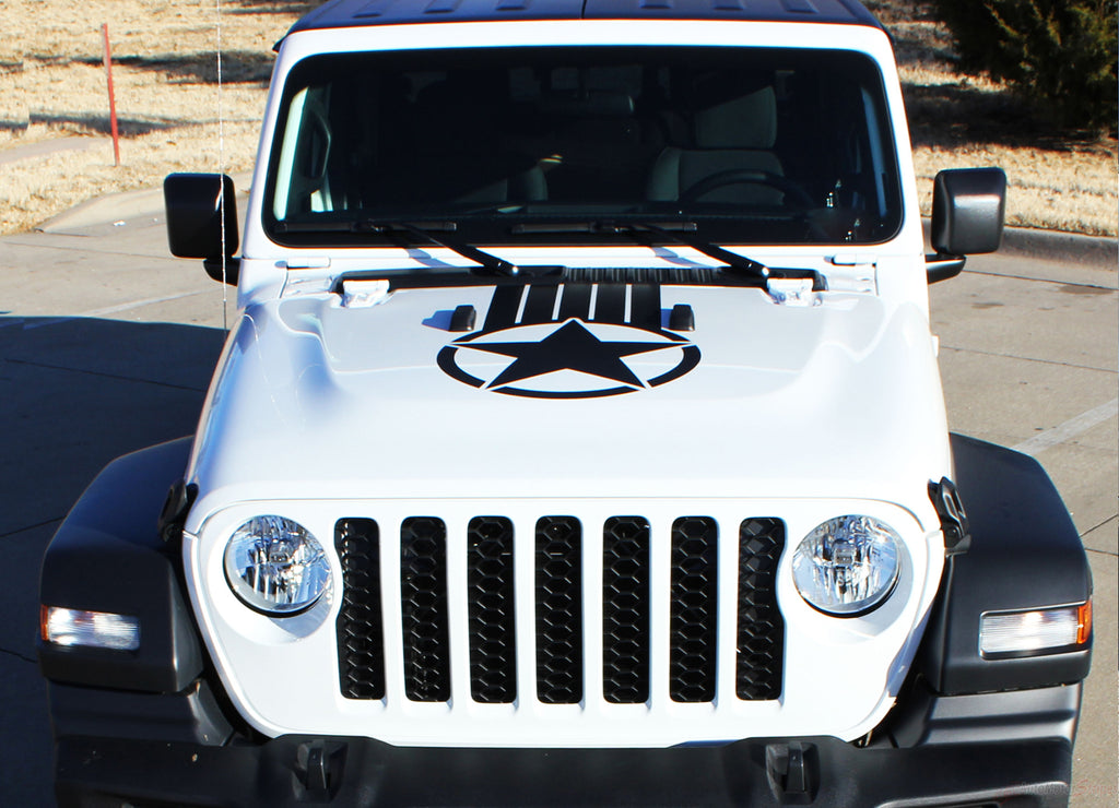 2020 Jeep Gladiator Alpha Hood Star Decal OEM Factory Style Hood Blackout Vinyl Graphic Stripes