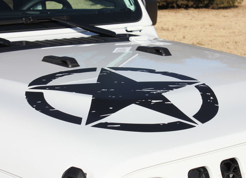 White Gladiator with Black Star Decals - 2021 2020 Jeep Gladiator Legend Hood Star Decal OEM Factory Style Hood Blackout Vinyl Graphic Stripes