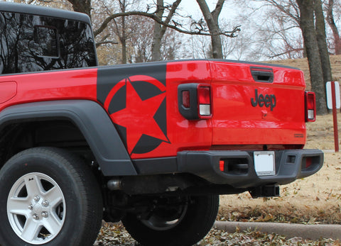2020 Jeep Gladiator Side Star Decals Boot Strap Body Vinyl Graphic Stripes Kit