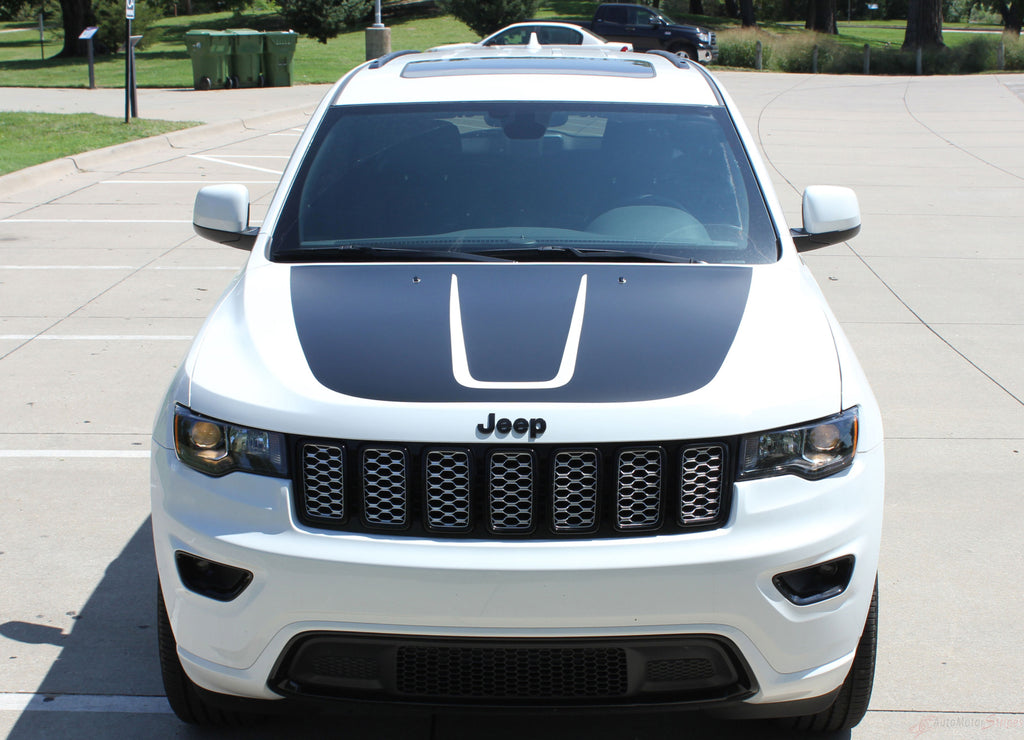 2011-2019 Jeep Grand Cherokee Trailhawk Hood Decal TRAIL Center Blackout Vinyl Graphic Stripes