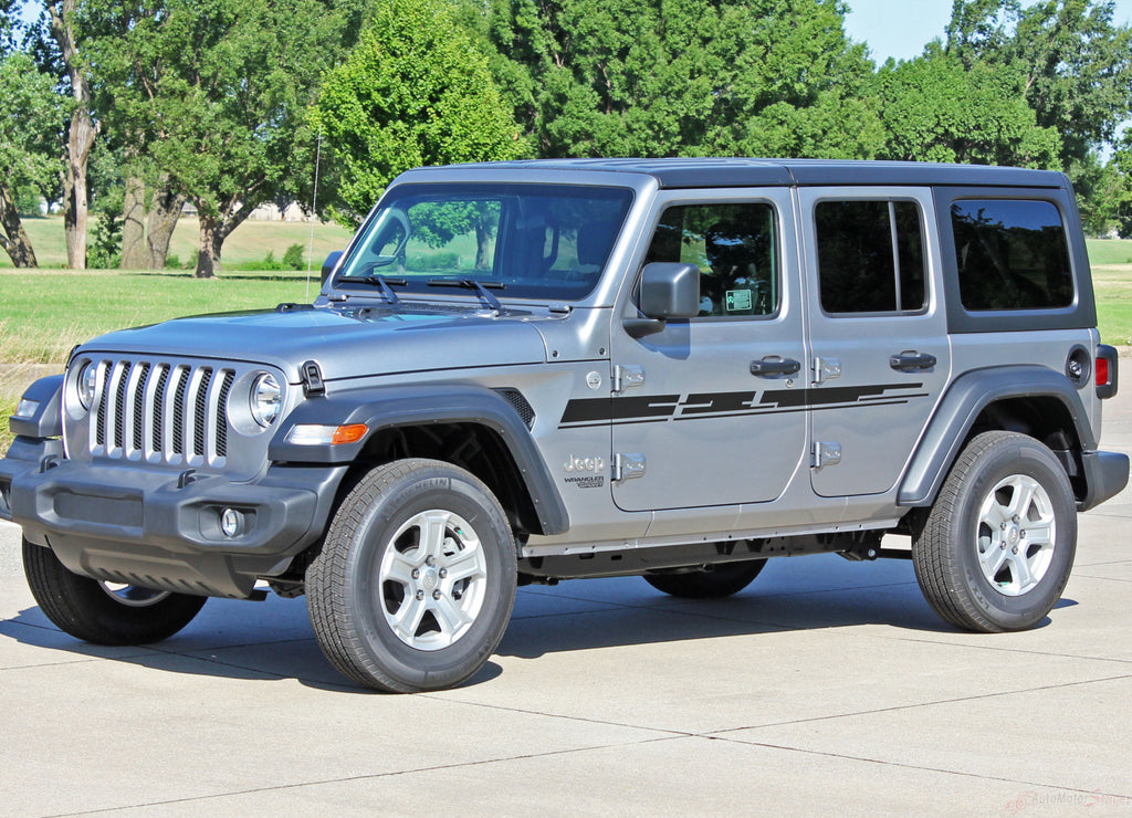 2018 2019 2020 Jeep Wrangler JL Mojave Side Door Decals and Hood Vinyl Graphic Body Stripes Kit