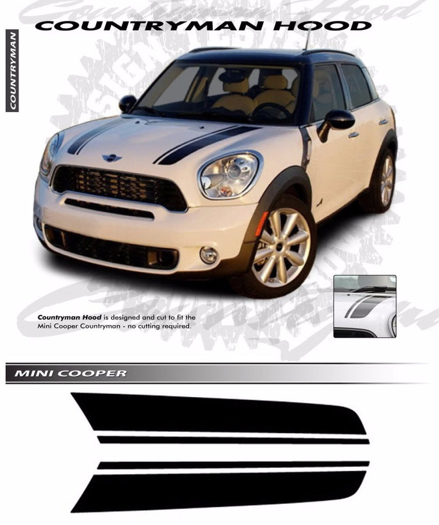 2010-2016 Mini Cooper COUNTRYMAN Hood Racing Stripes Vinyl Graphics 3M Decal Striping