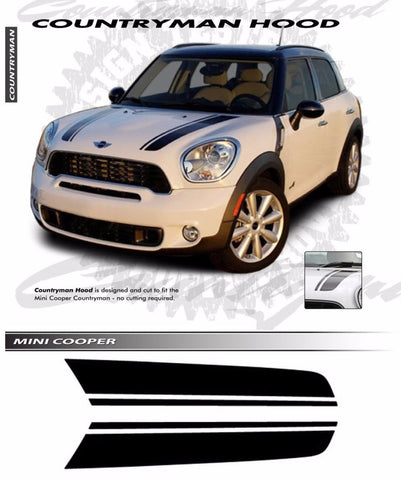 2009-2017 Mini Cooper COUNTRYMAN Hood Racing Stripes Vinyl Graphics 3M Decal Striping
