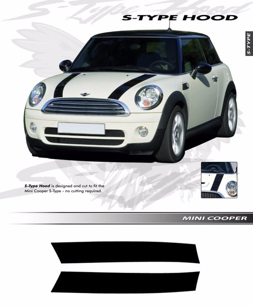 2006-2018 Mini Cooper S-Type Hood Racing Stripes Vinyl Graphics 3M Decal Striping