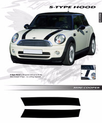 2009-2017 Mini Cooper S-Type Hood Racing Stripes Vinyl Graphics 3M Decal Striping