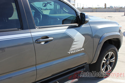 2015 2016 2017 Toyota Tacoma Storm Upper Door Panel Accent Trim Decal 3M Vinyl Graphics Stripe Kit - Passenger Side View