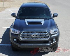 2015 2016 2017 Toyota Tacoma Sport Hood TRD Sport Pro Accent Trim Decal 3M Vinyl Graphics Stripe Kit - Center View