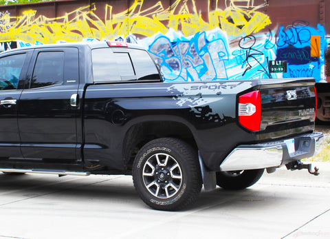 Toyota Tundra Decals BURST Side Bed and Upper Body Accent Stripes Striping Graphics Kit