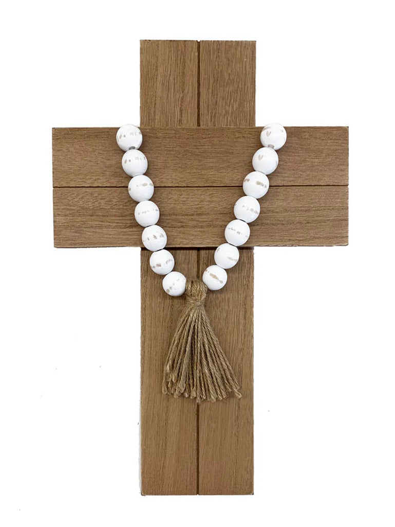 Cross with Beads & Tassel
