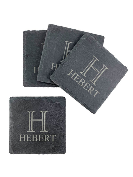 Slate Coaster Set - Initial & Name