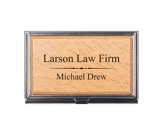 Business Card Holder - Wood & Metal