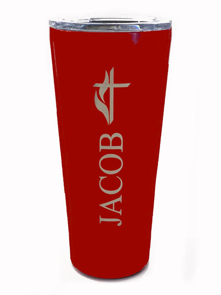 Large Drinking Tumbler - Cross with Vertical Name