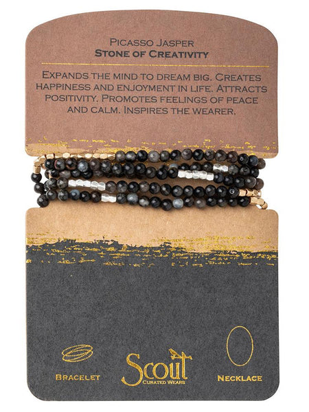Genuine Stone Wrap Bracelet/Necklace Picasso Jasper from Scout Curated