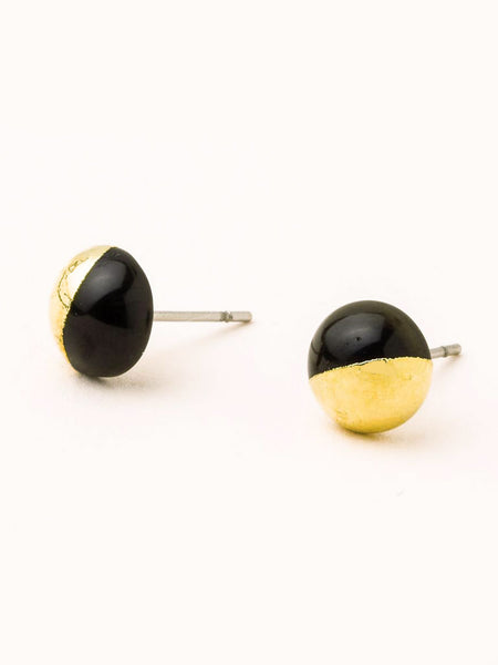 Dipped Stone Stud Earrings - Black Spinel/Gold