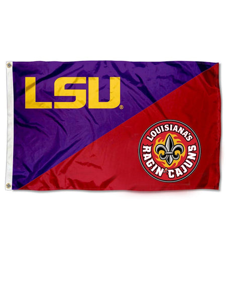 LSU  ULL Divided Standard Flag