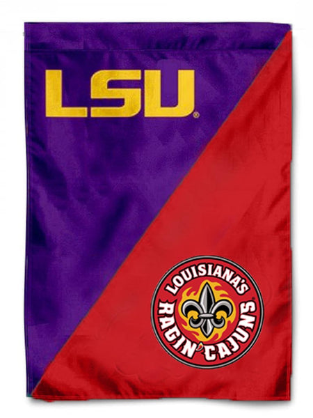 LSU ULL Divided Garden Flag