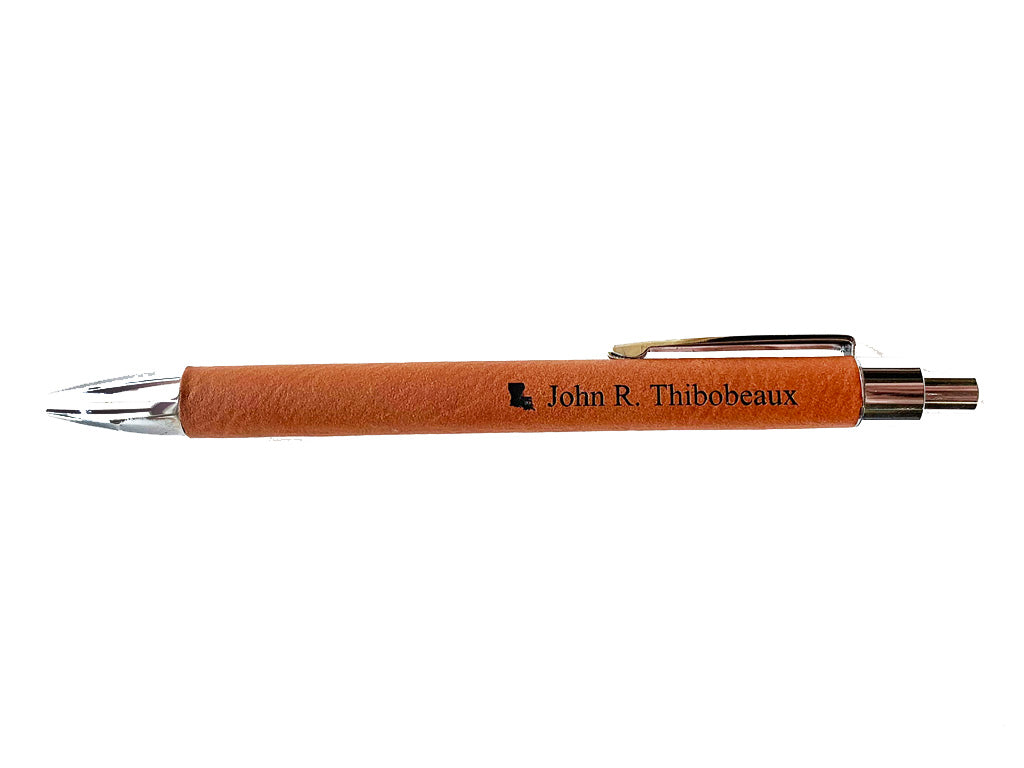 Tan Faux Leather Pen