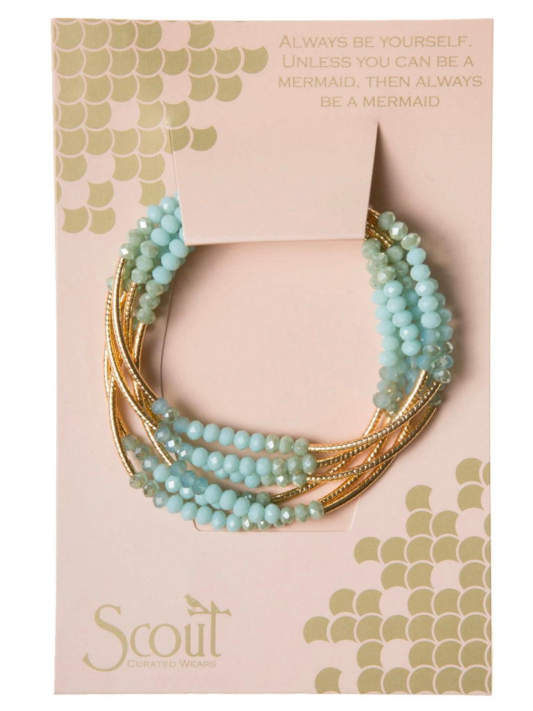 Wrap Bracelet/Necklace Turquoise Combo/Gold from Scout Curated Wears