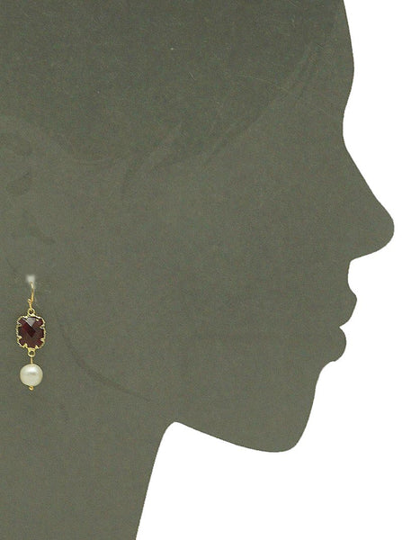 Cultured Pearl Earrings - Red Stone