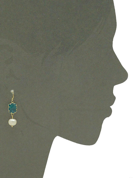 Cultured Pearl Earrings - Aqua Stone