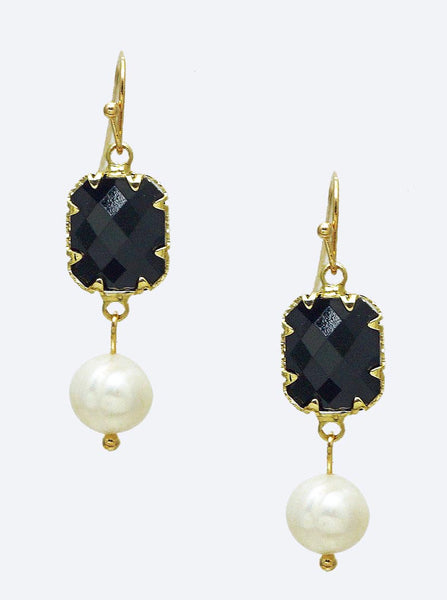 Cultured Pearl Earrings - Black Stone