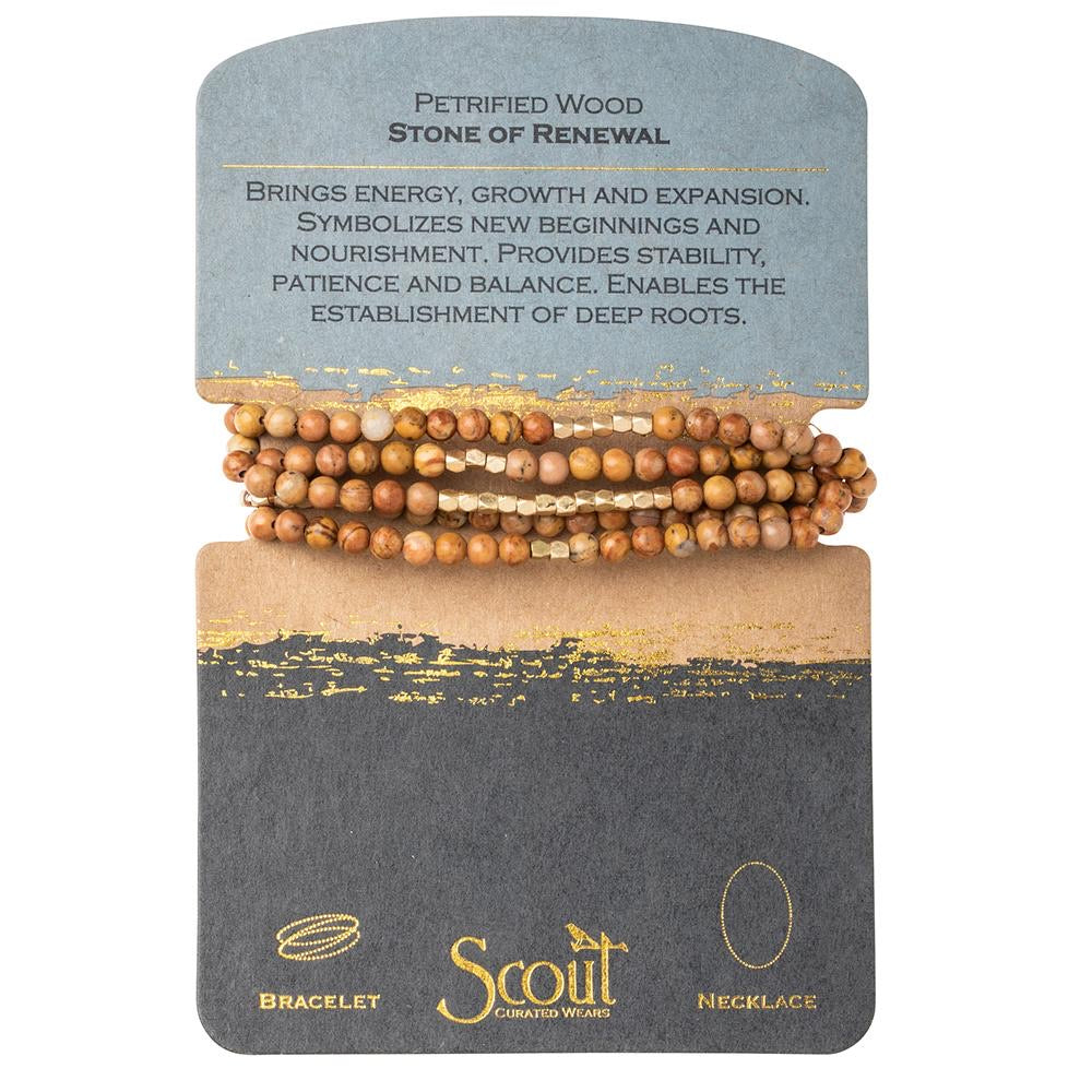 Genuine Stone Wrap Bracelet/Necklace Petrified Wood from Scout Curated