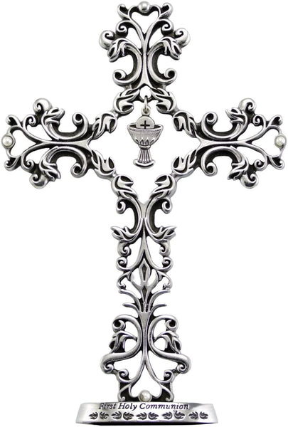 First Communion Pewter Cross with Chalice Charm