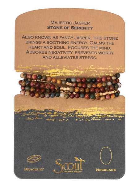 Genuine Stone Wrap Bracelet/Necklace Majestic Jasper from Scout Curated Wears