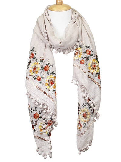 Embroidered Floral Scarf - beige