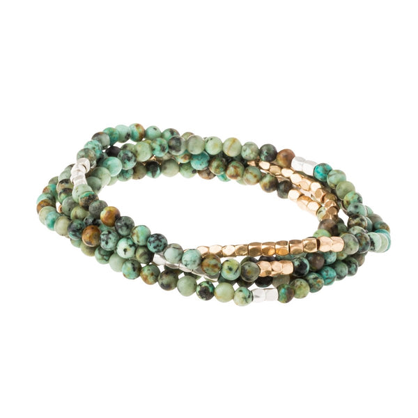 Genuine Stone Wrap Bracelet/Necklace African Turquoise from Scout Curated