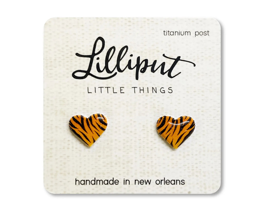 Tiger Stripe Heart Earrings by Lilliput Little Things