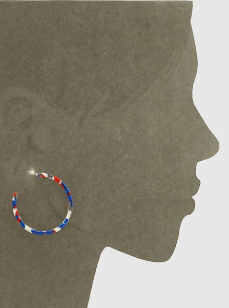 Red, White & Blue Acetate Hoop Earrings