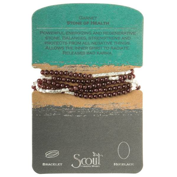 Genuine Stone Wrap Bracelet/Necklace Garnet from Scout Curated