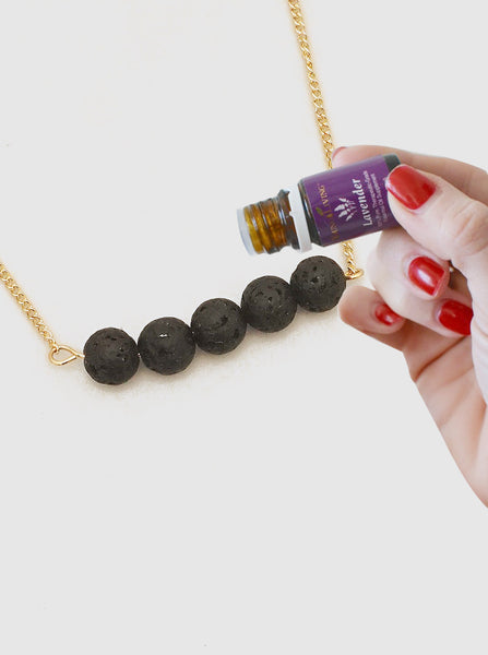 Aromatherapy 5 Lava Stone Necklace