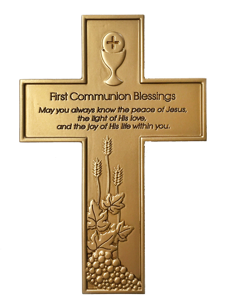 First Communion Gold tone Cross