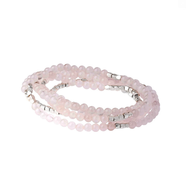Genuine Stone Wrap Bracelet/Necklace Rose Quartz from Scout Curated