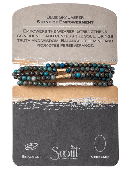 Genuine Stone Wrap Bracelet/Necklace Blue Sky Jasper from Scout Curated Wears