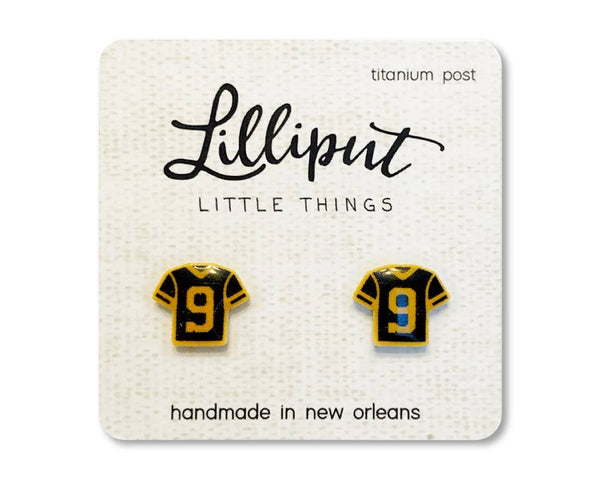 Number 9 Jersey Earrings by Lilliput Little Things